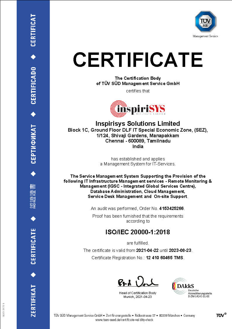 ISO/IEC 20000-1:2018 certificate