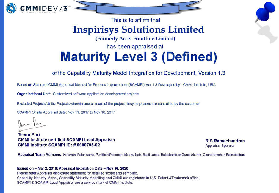 ISO/CMMI certificate